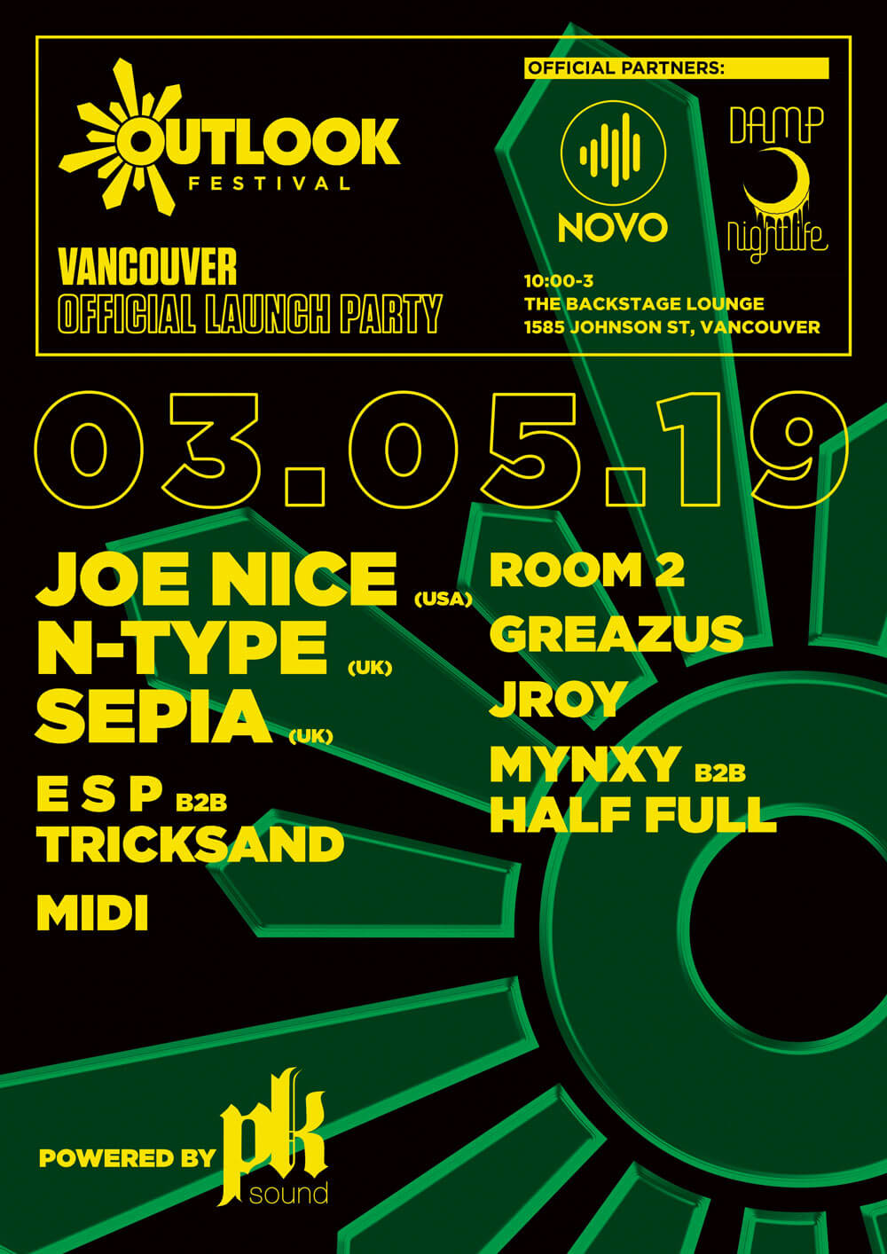 Novo, Damp Nightlife, and Outlook Festival Present : Outlook 2019 Vancouver Launch Party!